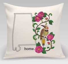State Bird and Flower//Alabama Yellowhammer and Camellia Medley. Decorative pillow. Embroidered. Gift. Home Decor by PrincetonThreads on Etsy
