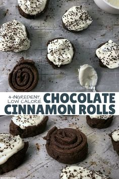 You& going to love these healthier chocolate cinnamon rolls with cream cheese frosting. They& super easy to make and each cinnamon roll has 12 grams of protein and only 137 calories. Healthy Dessert Recipes, Baking Recipes, Delicious Desserts, Breakfast Recipes, Yummy Food, Protein Recipes, Protein Foods, Ww Recipes, Recipies