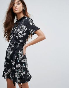 Women, Teen Vero Moda Floral Ruffle Wrap Dress ASOS