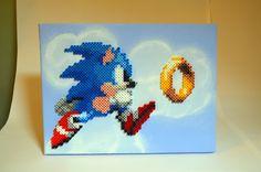 Sonic jumping hama/nabbi beads on canvas by TheCraftShaft