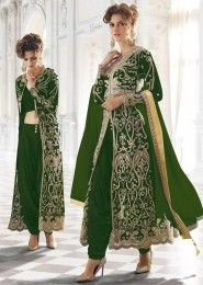 Party Wear Net Green Embroidered Work Anarkali Suit