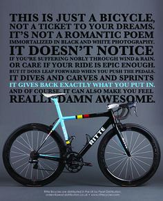 Sometimes words say it all. This is just a bicycle.
