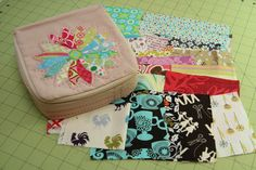 this pouch unzips on three sides, to store sewing stuff - you can open it up and find EVERYTHING!