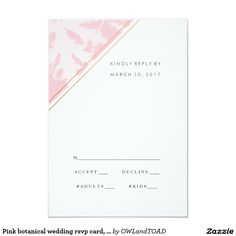 Pink botanical wedding rsvp card, reply card