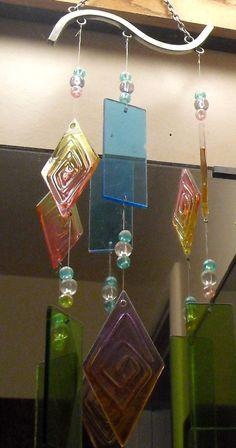 Colored glass windchimes
