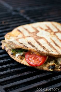 Grilled Chicken Panini with Greek Yogurt Pesto Spread