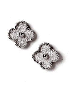 Van Cleef Arpels 18k Diamond Alhambra Earrings At London Jewelers Mechanical Design Sparkles
