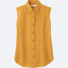 WOMEN PREMIUM LINEN SLEEVELESS SHIRT, YELLOW - Uniqlo :: $20