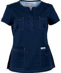 If you're a fan of Fashion Scrubs, then Koi Scrubs Limited Edition Simone Top is for you! Functional features, fashion forward styling come together perfectly. Cute Scrubs Uniform, Scrubs Outfit, Scrubs Pattern, Koi Scrubs, Medical Uniforms, Womens Scrubs, Medical Scrubs, Short Shirts, Scrub Tops