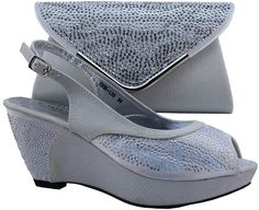 58.50$  Watch here - http://alij2h.worldwells.pw/go.php?t=32768604959 - Latest silver wedges heel sadal shoes and handbags set with rhinestones 1308-L53 multi color available 58.50$
