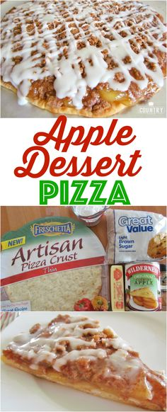 Apple Dessert Pizza Rezept von The Country Cook Mini Desserts, Easy Desserts, Delicious Desserts, Yummy Food, Paleo Food, Plated Desserts, Healthy Desserts, Fruit Recipes, Apple Recipes