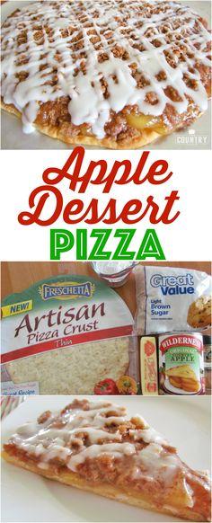 Apple Dessert Pizza Rezept von The Country Cook Tiramisu Dessert, Dessert Pizza, Dessert Food, Sweet Desserts, Easy Desserts, Healthy Desserts, Dessert Aux Fruits, Cooked Apples, Dessert Simple