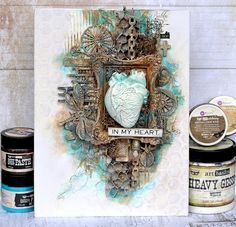 """Small and large creative journeys with Olga Bielska: Blejtram """"In my heart"""" - DT Retro Kraft Shop Mixed Media Canvas, Mixed Media Art, Mix Media, Canvas Collage, Altered Canvas, Art Basics, Exploding Boxes, Art Journal Inspiration, Creative Art"""