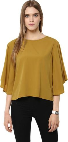 ab36862ec4eda4 Harpa Casual Petal sleeve Solid Women s Yellow Top