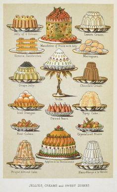 Giclee Print: Jellies, Creams and Sweet Dishes Art Print by Isabella Beeton : Retro Recipes, Old Recipes, Vintage Recipes, Sweet Recipes, Vintage Food, Victorian Recipes, Retro Food, Vintage Cooking, Delicious Recipes