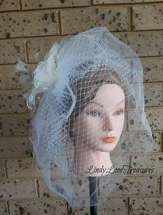 Bridal Birdcage Double Veil with Feather Flower Wedding