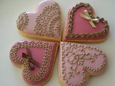 Heart valentines cookies