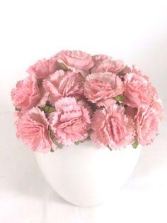 10 Mini Pink Carnation Mulberry Paper Flowers Wedding Card Hat Dollhouse 2.5cm #Handmade