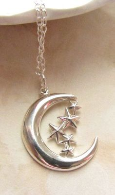 Moon and Stars sterling silver charm necklace