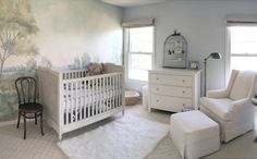 """Susan Harter Muralpapers -- Something about this room just whispers, """"Nap time!"""" So very sweet."""
