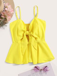To find out about the Tie Front Shirred Peplum Cami Top at SHEIN, part of our latest Tank Tops & Camis ready to shop online today! Cami Tops, Halter Crop Top, Cami Crop Top, Fashion News, Girl Fashion, Fashion Outfits, Orange Pink Color, Summer Outfits, Cute Outfits