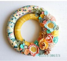 Double Wrapped Fabric Wreath with felt flowers made by Wreaths By Emma Ruth Felt Flower Wreaths, Felt Wreath, Fabric Wreath, Wreaths And Garlands, Tulle Wreath, Wreath Crafts, Diy Wreath, Felt Flowers, Felt Crafts