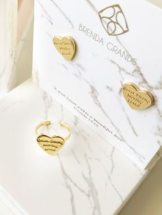 Best heart studs!!! Jewelry with meaning with a engraved message: I am Brave Strong Worthy and Loved!!!!
