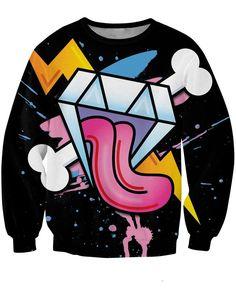 Diamond Tongue Out Lightning Cross Bone Graphic Color Design Sweatshirt  #Diamond #Tongue #Out #Lightning #Cross #Bone #Graphic #Color #Design #Sweatshirt
