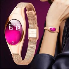 This new fashion ladies fitness tracker watch comes with heart rate monitor, step counting facility, complete & perpetual calendar, and alarm which makes it a utilitarian accessory for fitness-conscious women. #smartwatchesforwomen #androidsmartwatchesforwomen #smartwatchesforwomenrosegold