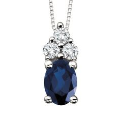 10KT White gold 0.14 ctw diamond and blue sapphire pendant, chain included. PEN-GEM-0930