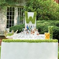 love the monogram above the bar. could be an easy diy project.