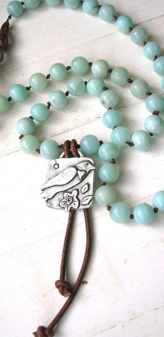 Knotted necklace  Song Bird  Bohemian jewelry by 3DivasStudio, $69.00