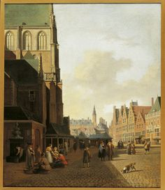 Gerrit Adriaensz Berckheyde, The Fish Market in Haarlem seen in the direction of the Town Hall, Landscape Art, Landscape Paintings, Dutch Netherlands, Dutch Golden Age, 17th Century Art, Baroque Art, City Painting, Medieval Life, Dutch Painters