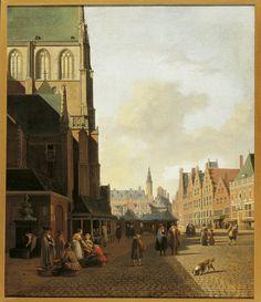 Gerrit Adriaensz Berckheyde, De Vismarkt te Haarlem gezien in de richting van het Stadhuis, 1692. (eigen collectie)
