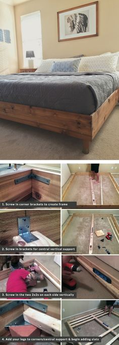 Shed DIY - Check out the tutorial on how to build a DIY king size bed Industry Standard Design Now You Can Build ANY Shed In A Weekend Even If You've Zero Woodworking Experience! Plataform Bed, Diy King Bed Frame, King Size Bed Frame, Diy Wood Bed Frame, Build Bed Frame, Making A Bed Frame, Build A Bed, Queen Bed Frames, Wooden Queen Bed Frame