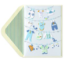 Clothesline New Baby Boy, Designer Linda Solovic for Papyrus
