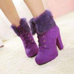 Gorgeous Purple Party Short Boots these r different. Purple Love, All Things Purple, Shades Of Purple, Deep Purple, Pink Purple, Purple Stuff, Fancy Shoes, Me Too Shoes, Wedge Boots