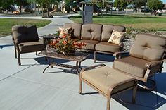 Elizabeth Outdoor Patio 6pc Set Seating Group Mocha Cast Aluminum Walnut Cushions * You can get more details by clicking on the image. (This is an affiliate link) #PatioFurnitureandAccessories