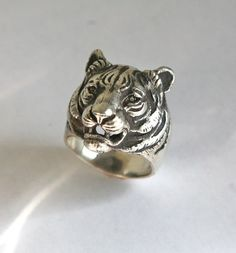 925 silver tiger head ring by yurikhromchenko on Etsy, $148.00