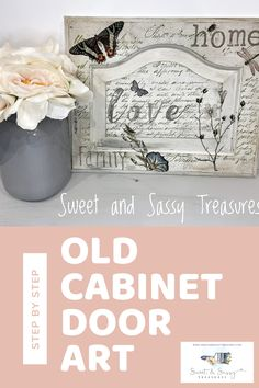 DIY wall decor you can easily make with DIY paint, IOD rub on transfers, IOD stamps and ink, and old wood cabinet doors. Tutorial to make home decor.