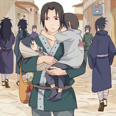 Fugaku holding Itachi and Sasuke