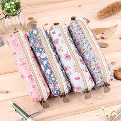 Nuevo 2016 hot venta de Fashiong niñas de la escuela flor de encaje Floral bolso de la pluma caso monedero cosmético del maquillaje de la bolsa del envío gratis