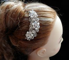 Bridal Hair Comb Swarovski Crystal, Pearl -- Wedding Accessory, Hair Accessory, Party HairComb, Hair piece (51C49). $29.00, via Etsy.