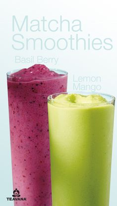 Lemon Mango Basil Berry Smoothies – replenish your body senses with Teavana Matchas many forms of delicious. Matcha Drink, Matcha Smoothie, Tea Smoothies, Smoothie Drinks, Healthy Smoothies, Healthy Drinks, Smoothie Recipes, Green Tea Dessert, Green Tea Recipes