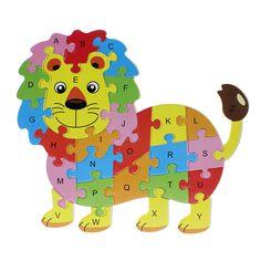 2016 Hot Animales Niños Bebé Temprano Educativo del Rompecabezas Del Alfabeto De Madera de Dibujos Animados Hipopótamo León Mariposa Búho Elefante Cerebro Juego Juguetes