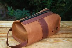 Personalized Leather Mens travel case Toiletry Bag Dopp Kit