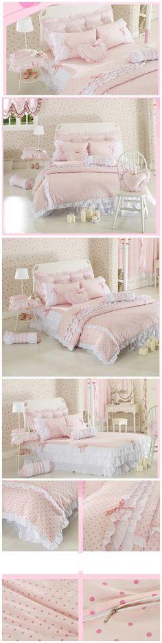 Princess Pastoral Lace Bedding Set Pure Cotton with Bed Skirt Romantic Comforter Set