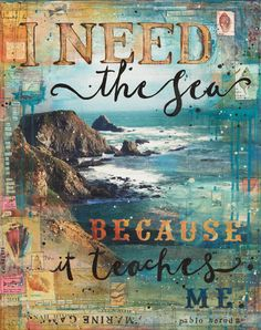 """collage mixed media - Need the Sea - 14x11 paper print by Mae Chevrette 