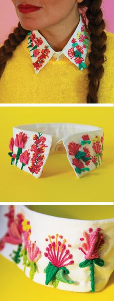 Señorita Lylo's Embroidered Collar to Add to Your Dream Wardrobe – Modelos de Collar Cross Stitch Embroidery, Embroidery Patterns, Hand Embroidery, Flower Embroidery, Diy Broderie, Diy Vetement, Look Vintage, Diy Clothing, Handicraft