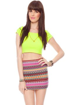 Pop, Lock, and Crop It T-Shirt in Neon Yellow